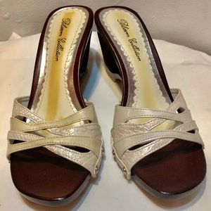 BLOSSOM COLLECTION WHITE HEELED SANDALS